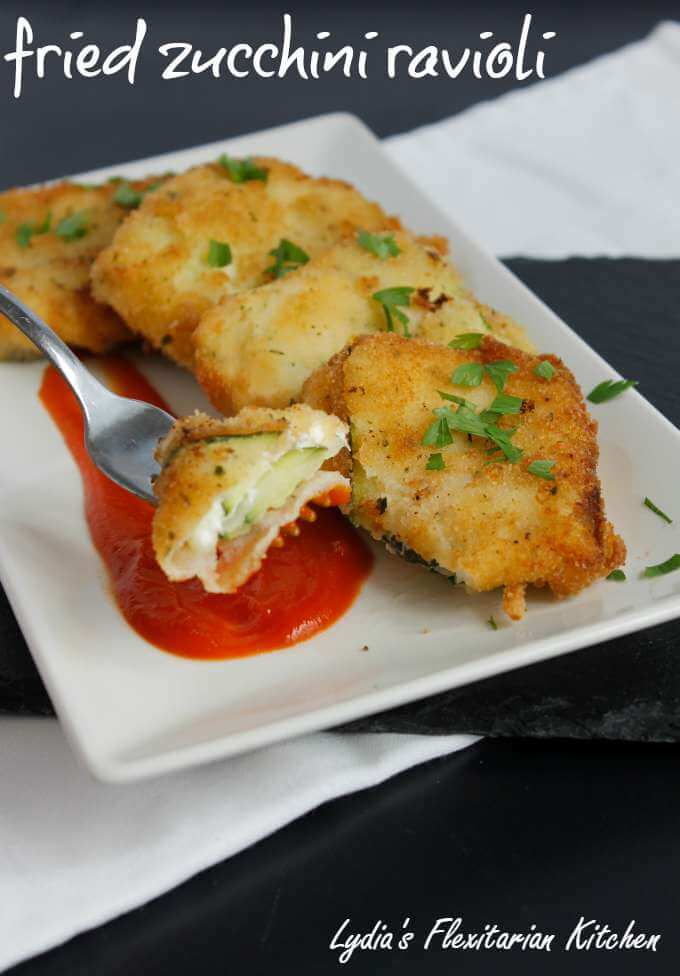 Fried zucchini ravioli. Crunchy outside, creamy cheesy filling inside.