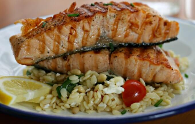 Curtis Stone's Grilled Salmon with Orzo Salad {IHCC}