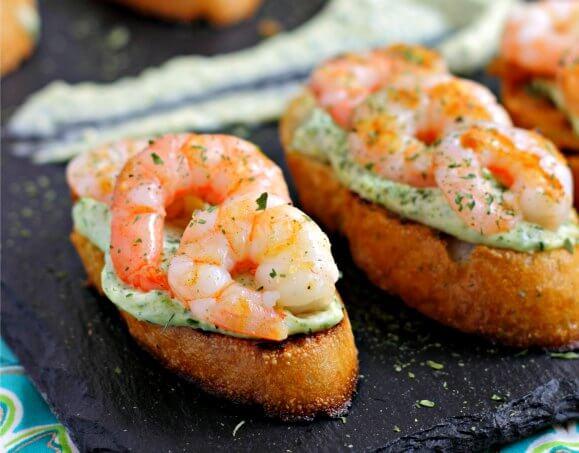 Shrimp and Herbed Garlic Mayonnaise on Toast