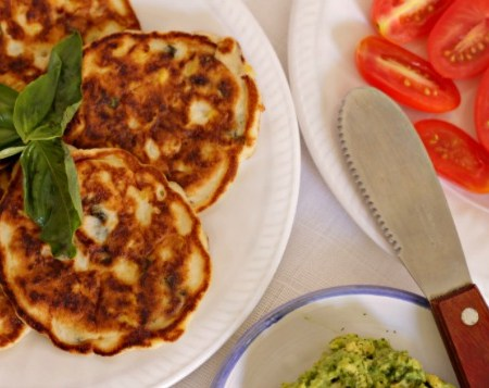 Coconut Flour Basil and Corn Cakes ~ A Low(er) Carb Option ~ Lydia's Flexitarian Kitchen