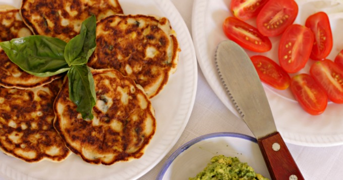 Low(er) Carb Basil and Corn Cakes