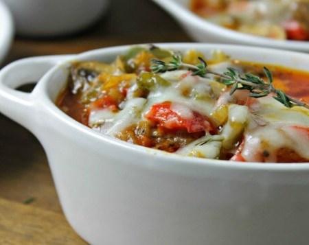 Low Carb Cheesesteak Casserole ~ Lydia's Flexitarian Kitchen