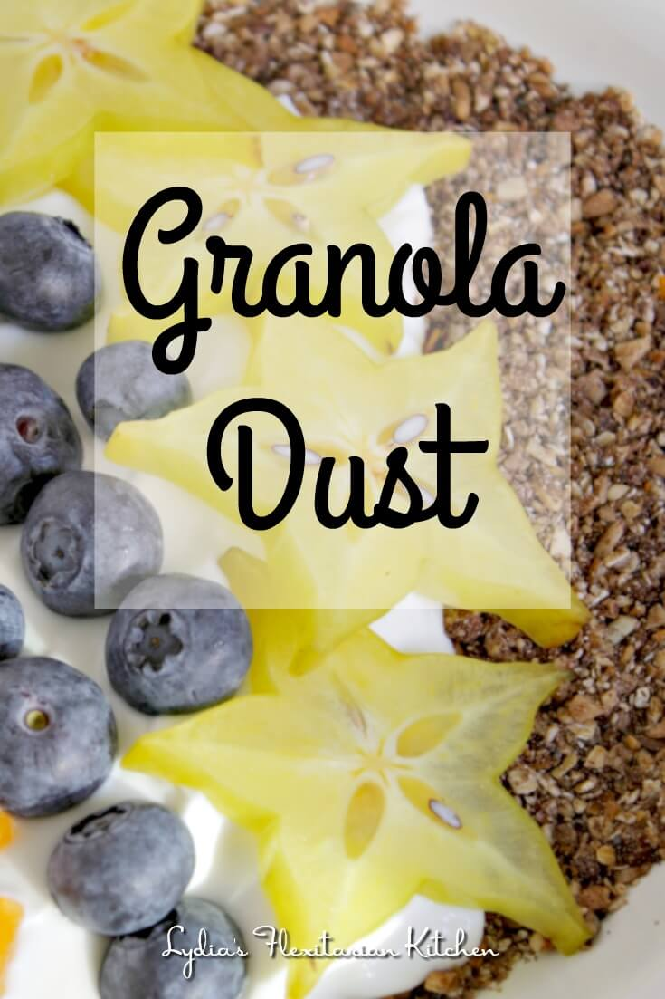 Jamie Oliver's Granola Dust is packed with good for you nuts, fruits and oats for a crunchy addition to a bowl of yogurt or a smoothie.
