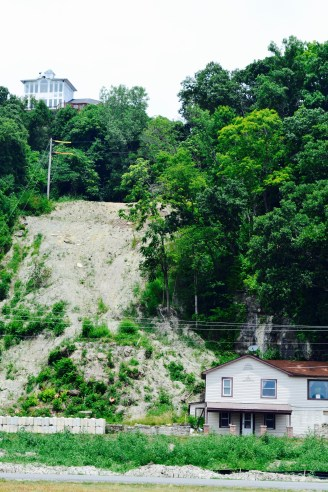 At one point there was a landslide that landed on top of the bottom house, actually making it inhabitable for awhile.