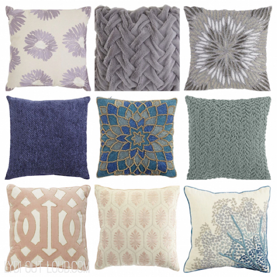 decorate with mixed print throw pillows