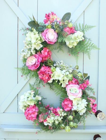 Love this! Monogram floral spring wreath