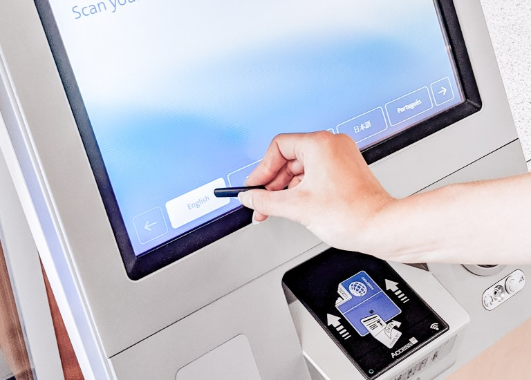 LyfeStylus selecting button on touch screen, touch screen kiosk, public touch screen
