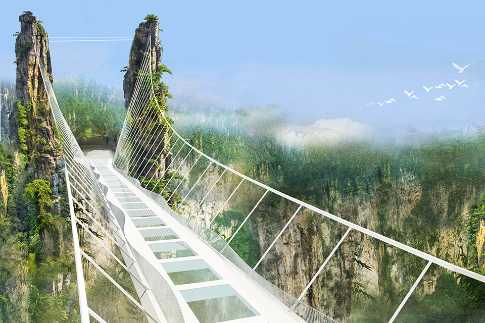 Israel based architect Haim Dotan, is set to open the staggering 300m high and 430m glass-bottomed bridge in Zhangjiajie Canyon national park, China.