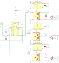 the schematic was easy enough to draw 3 times the output circuit connected to the pwm output pins from above led and buttons can be connected to any other  [ 1222 x 1103 Pixel ]