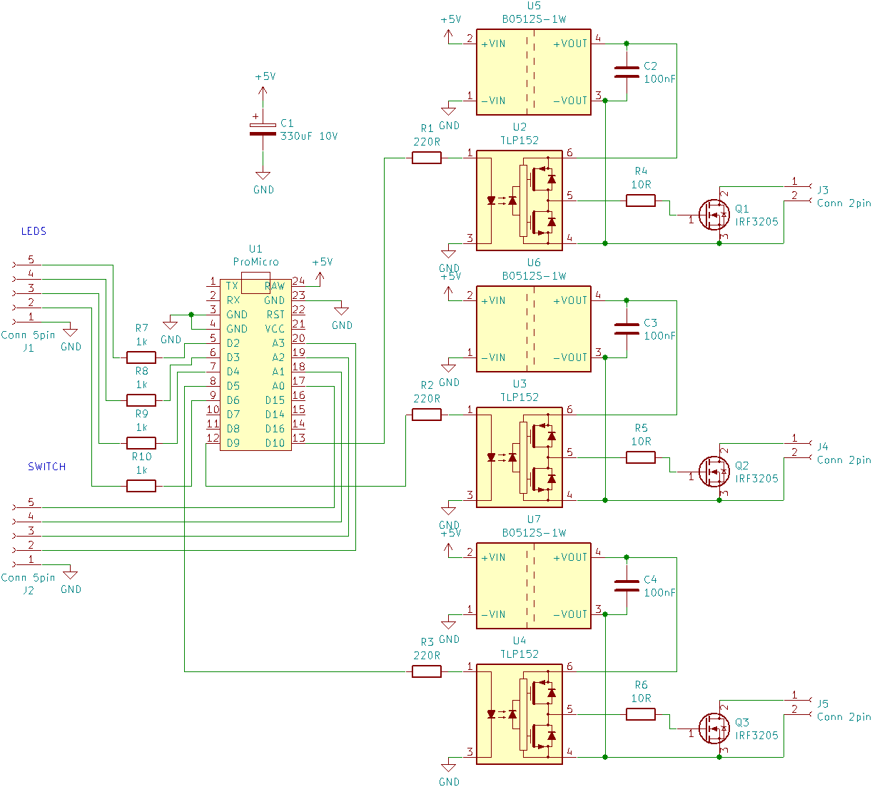 hight resolution of the schematic was easy enough to draw 3 times the output circuit connected to the pwm output pins from above led and buttons can be connected to any other