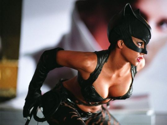 Catwoman Halle Berry in leather outfit