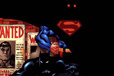 Superman in Batman shadow