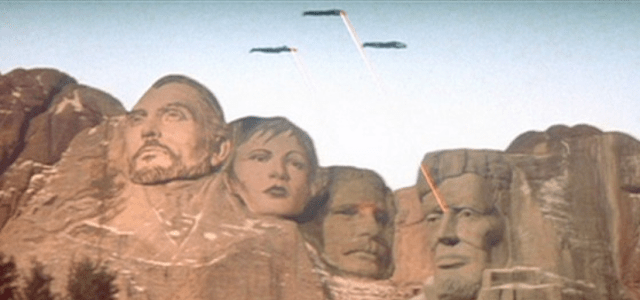 Superman II Mount Rushmore vandals