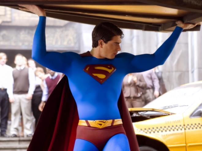 Superman Returns Brandon Routh Superman lifting car