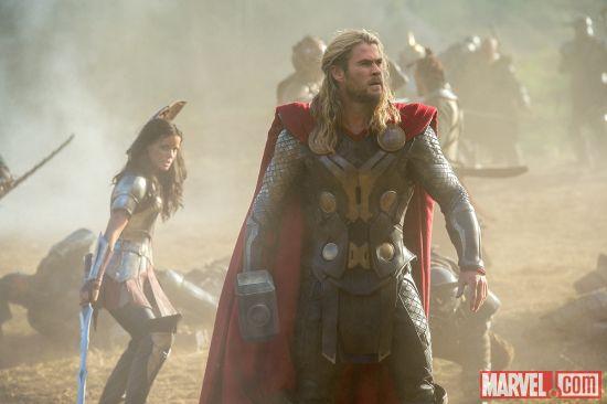 Thor The Dark World Jamie Alexander as Sif and Chris Hemsworth as Thor