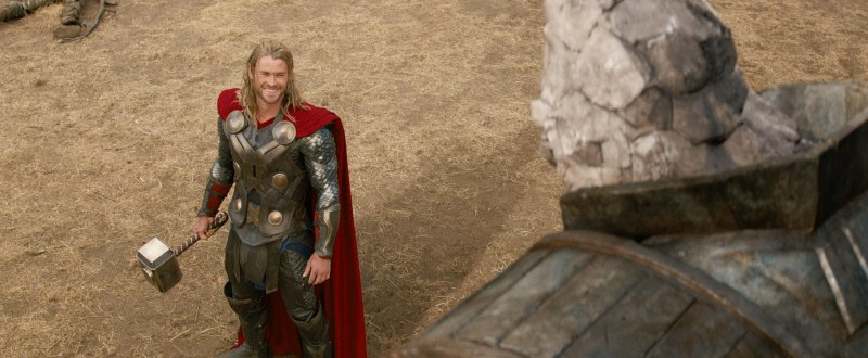 Marvel Studios Thor (Chris Hemsworth) and a Kronan.