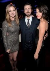 Alberto E. Rodriguez/Getty Images Emily VanCamp, Chris Evans and Cobie Smulders.