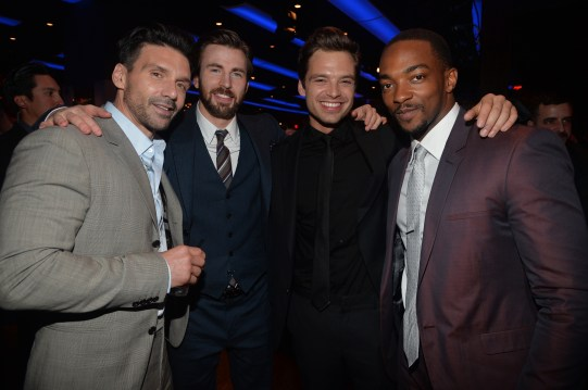 Alberto E. Rodriguez/Getty Images Frank Grillo, Chris Evans, Sebastian Stan and Anthony Mackie