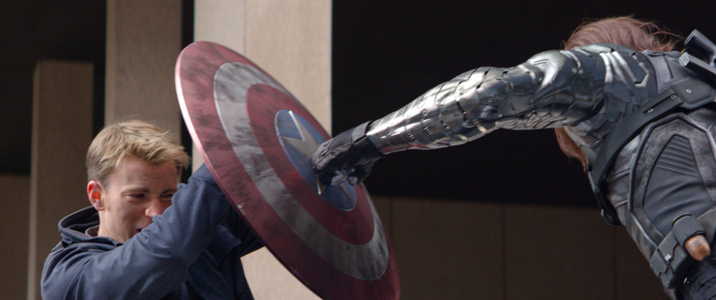 Marvel Captain America/Steve Rogers (Chris Evans) battles Winter Soldier (Sebastian Stan).