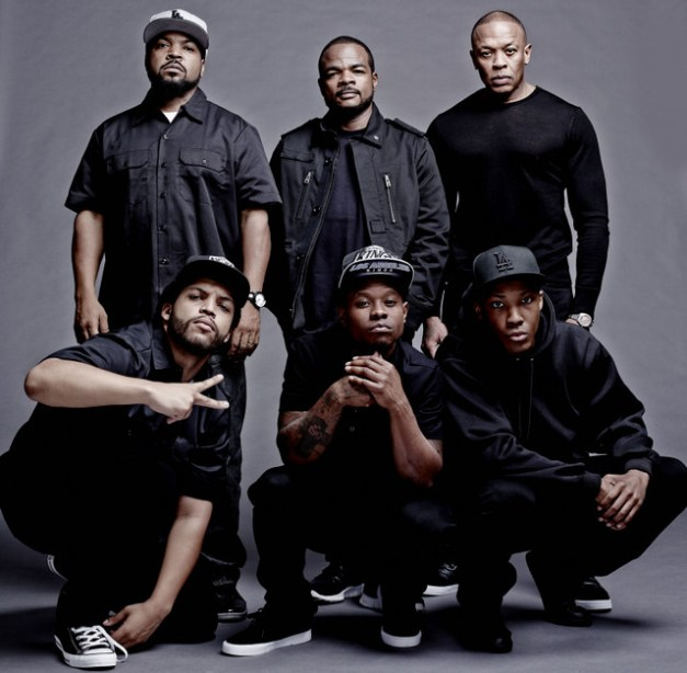 """Todd MacMillan/Universal Pictures the cast and filmmakers of """"Straight Outta Compton"""" (clockwise, from top left): producer Ice Cube, director F. Gary Gray, producer Dr. Dre, Corey Hawkins  (Dr. Dre), Jason Mitchell (Eazy-E) and O'Shea Jackson Jr. (Ice Cube)"""