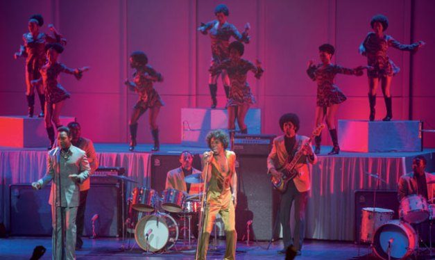 """D. Stevens/Universal Pictures Bobby Byrd (Nelsan Ellis) and James Brown (Chadwick Boseman) perform in """"Get on Up"""""""