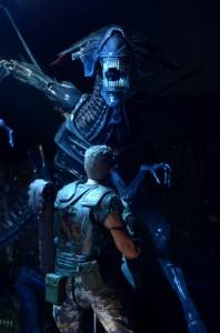 NECA-Alien_Queen figure staring down with Hicks