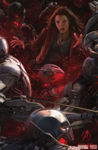 The Avengers Age of Ultron concept art - Scarlet Witch vs Ultrons