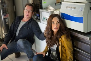 Mark Fellman/Paramount Pictures Vern (Will Arnett) and April O'Neil (Megan Fox).