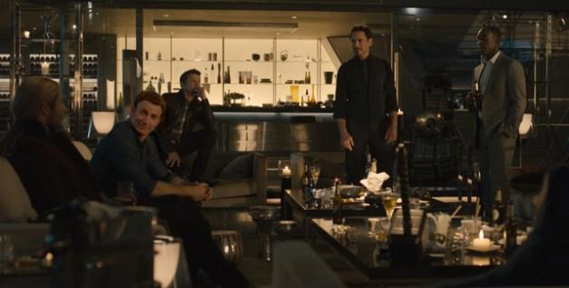 "Jay Maidment/Marvel Thor (Chris Hemsworth), Steve Rogers/Captain America (Chris Evans), Clint Barton/Hawkeye (Jeremy Renner), Tony Stark/Iron Man (Robert Downey Jr.) and James ""Rhodey"" Rhodes/War Machine (Don Cheadle)."