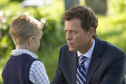 "Allen Fraser/TriStar Pictures Colton Burpo (Connor Corum) tells Todd (Greg Kinnear) he met Pops in ""Heaven Is for Real."""