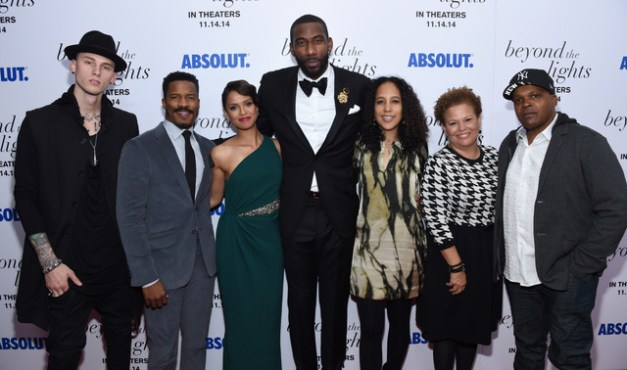 """Larry Busacca/Getty Images (From left) Rapper Machine Gun Kelly, actor Nate Parker, actress Gugu Mbatha-Raw, basketball player Amar'e Stoudemire, director Gina Prince-Bythewood , CEO of BET Debra L. Lee and director Reggie Rock Bythewood attend The New York Premiere Of Relativity Media's """"Beyond the Lights"""" at Regal Union Square Stadium on Nov. 13, 2014 in New York City."""