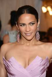 Paula Patton in pink dress cleavage