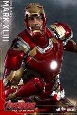 Hot Toys Iron Man Mark XLIII figure - faceplate up straight