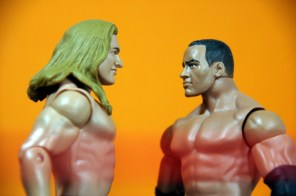 Triple H Basic Summerslam Heritage figure - close up against Rock