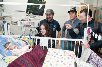 Chris Evans with pals at Seattle Children's Hospital