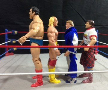 Hulk Hogan Defining Moments figure - scale shot with Andre, Piper and Orndorff