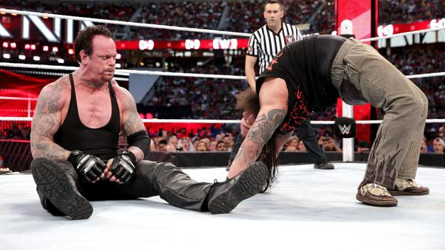 Wrestlemania 31 - Undertaker sits up at Bray