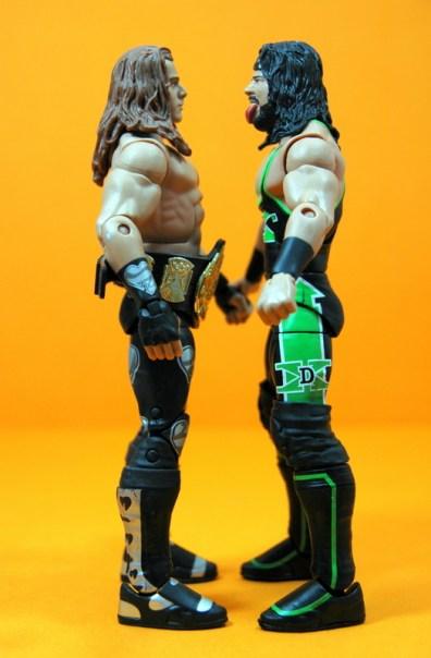 WWE Elite 33 X-Pac - scale shot with Elite 19 HBK