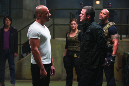 Giles Keyte/Universal Pictures Han (Sung Kang), Dom (Vin Diesel), Riley (Gina Carano), Shaw (Luke Evans) and Hobbs (Dwayne Johnson).