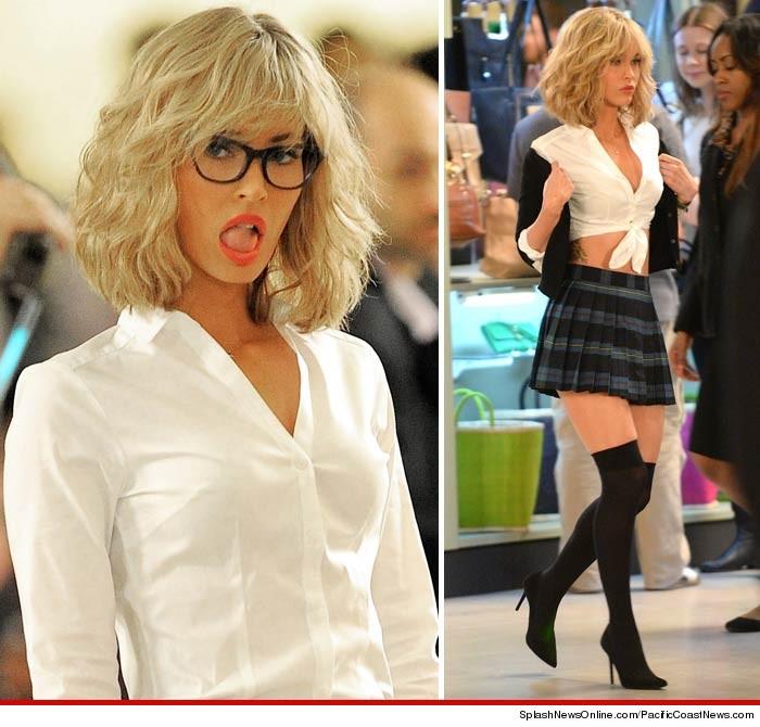 Megan Fox Is A Slutty Blonde Schoolgirl On The Set Of TMNT 2