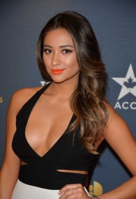 Shay Mitchell - low cut black top