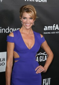 Tricia Helfer - blue cleavage