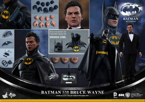Hot Toys Batman Returns figure - collage of Batman and Bruce Wayne