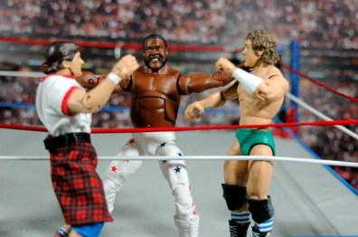 Junkyard Dog figure Mattel WWE Elite 33 - double nobbin knocker with Piper and Orton