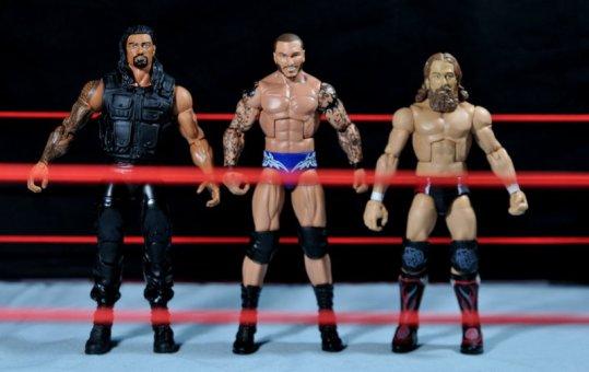 Randy Orton Mattel WWE Elite 35 -scale shot with Roman Reigns and Daniel Bryan