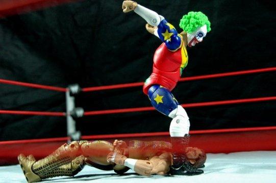 Doink the Clown WWE Mattel figure review - landing on Macho Man