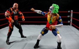 Doink the Clown WWE Mattel figure review - taunting Bam Bam