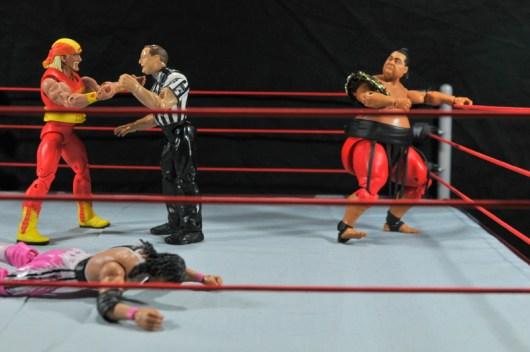 Hulk Hogan Hall of Fame figure - getting into Yokozuna Bret Hart match