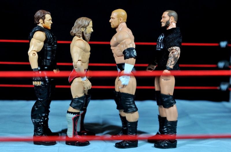 Triple H WWE Mattel Elite 35 - scale shot with Dean Ambrose, Daniel Bryan and Randy Orton