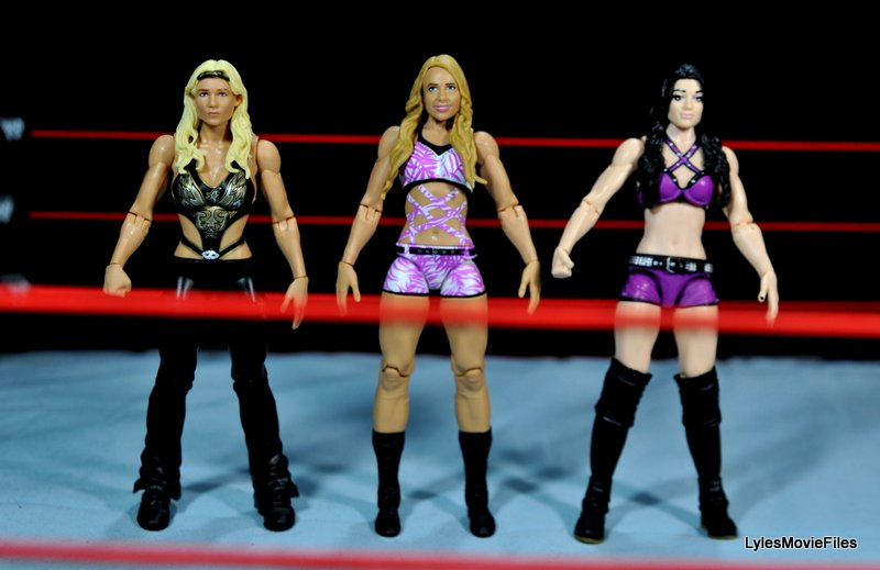 Emma WWE Mattel Basic 30 -scale shot with Beth Phoenix and Paige